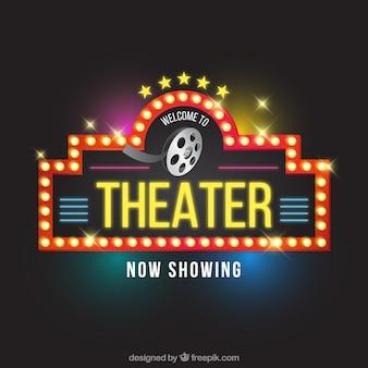 Sinal teatro luminosa no estilo do vintage