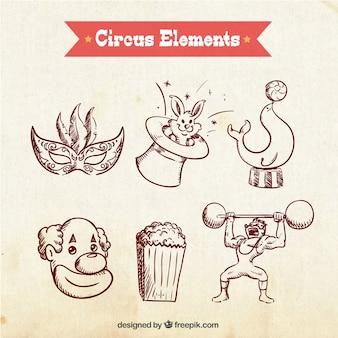 Sketches elementos circenses embalar