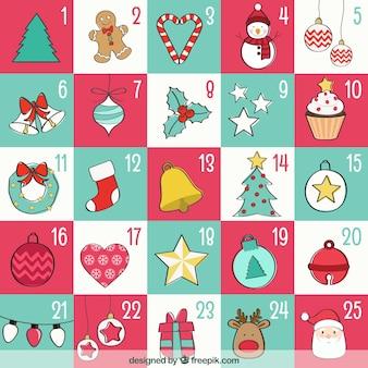 Sketchy calendário do advento do Natal
