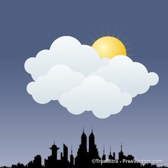 Skyline da cidade com grandes nuvens