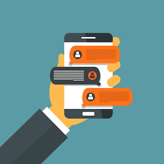 Smartphone com notificações de mensagens de bate-papo
