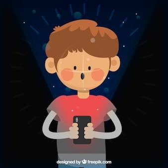 Smartphone face ID conceito com garoto