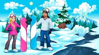 Snowboarders menino e menina na montanha Ilustração do vetor
