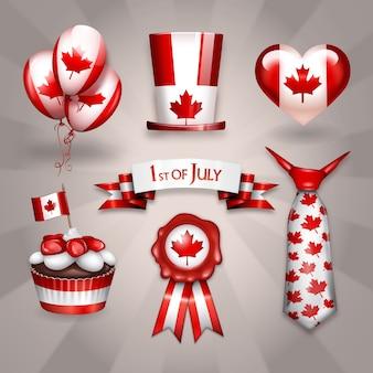 Sobreposições felizes de etiqueta do partido do dia do dia do Canadá