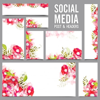Social Media Post e Headers com flores vermelhas e rosa.