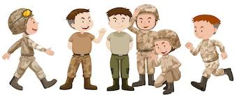 Soldados em uniforme marrom