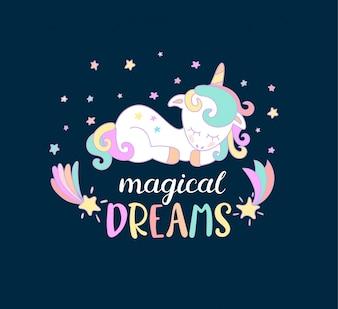 Sonhos mágicos dos unicórnios.