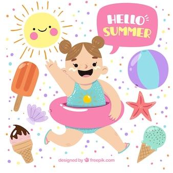 Sorrindo, menina, verão, objetos