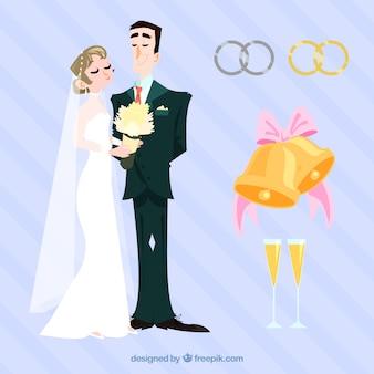 Sortimento com recém-casados e objetos planos
