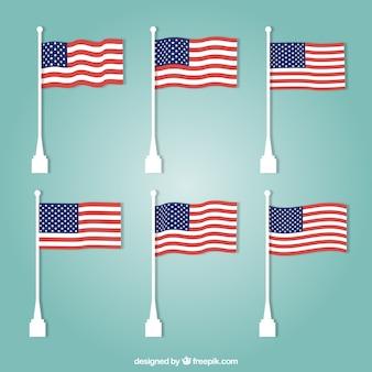 Sortimento, unidas, estados, bandeiras, liso, desenho