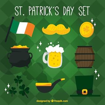 ST. Dia elementos tradicionais de Patrick