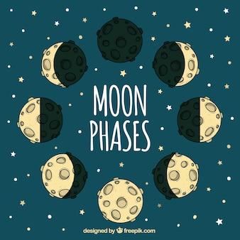 Stars o fundo com as fases da lua mão desenhada