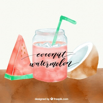 Suco de coco e melancia pintado com aquarela