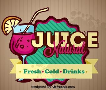 Suco de frutas design natural rótulo retro fresco
