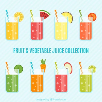 Sucos de frutas e vegetais saudáveis