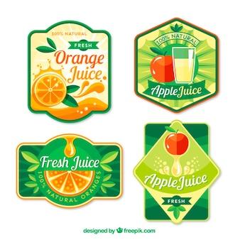 Sucos de frutas rótulos em design plano