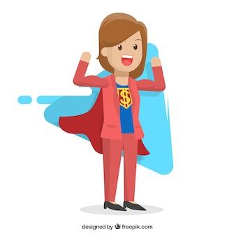 Super-herói mulher de negócios personagem