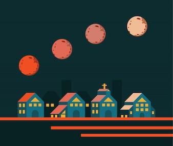 Super lua subindo pela cidade. elementos de design planos. ilustração vetorial