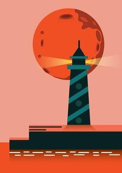 Super lua subindo sobre o farol. elementos de design planos. ilustração vetorial
