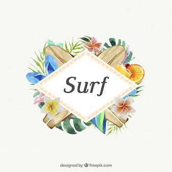 Surf com aguarelas