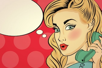 Surpreendida mulher pop art conversando no telefone retro
