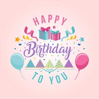 Surprise Theme Happy Birthday Card Illustration