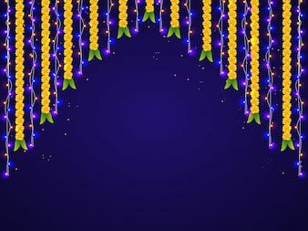 Suspensão de luzes coloridas e decorações de flores para celebrações felizes de Diwali.