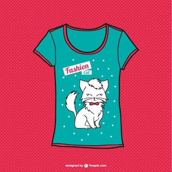 T-shirt gato vetor livre