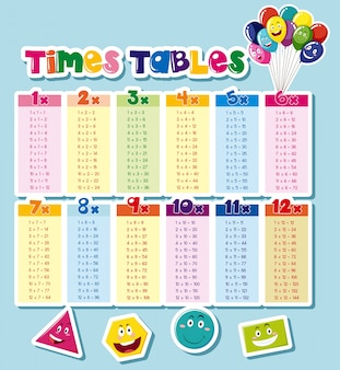 Tabelas de horários de design com fundo azul