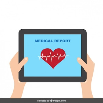 Tablet com relatório médico