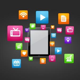 Tablet inteligente vetorial com ícones de mídia social