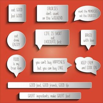 Tags Adesivos botões autocolantes com a mensagem sobre o alimento
