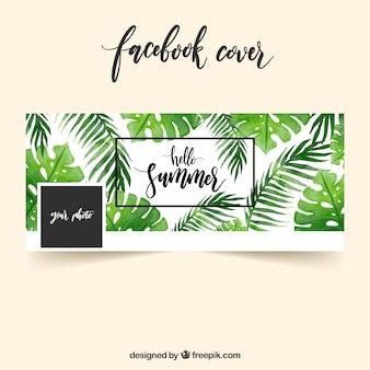 Tampa do Facebook com folhas de palmeiras de aquarela