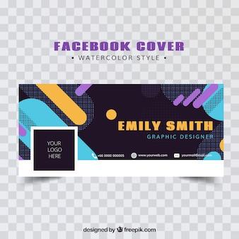 Tampa moderna do Facebook com formas abstratas