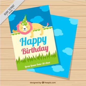 Tarjeta de cumpleaños con un león dibujado