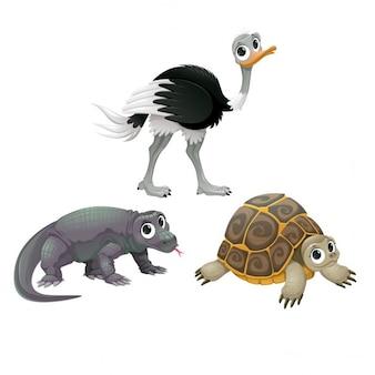 Tartaruga engraçada animais avestruz australiano e dragão de Komodo Vector cartoon isolado caracteres