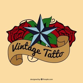 Tatuagem do vintage com uma estrela sobre rosas