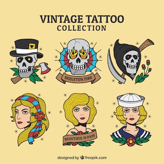 Tatuagens vintage de personagens desenhadas a mão conjunto