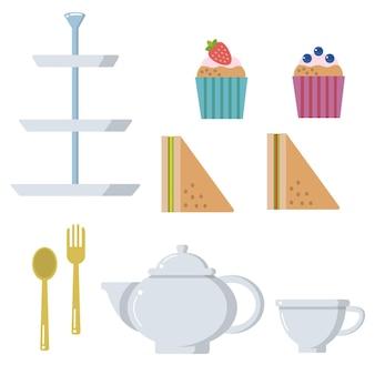 Tea time pot cup muffin sandwich vector set