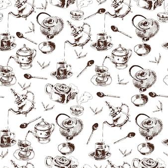 Teapot e copos de chá tradicional, acessórios de cerimônia, vintage, sem emenda, papel, padrão, padrão, doodle, esboço, ilustração vetorial