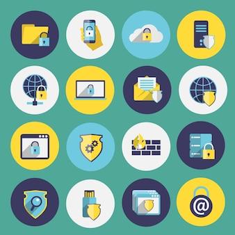 Tecnologia da informação, segurança, ícones planos, conjunto, computador, móvel, firewall, proteção, isolado, ilustração vetorial