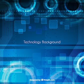 Tecnologia de fundo azul com formas abstratas