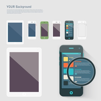 Telefone inteligente com isolados. Branco realista