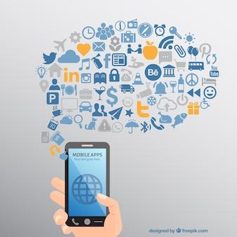 Telefone móvel aplicativos ícones