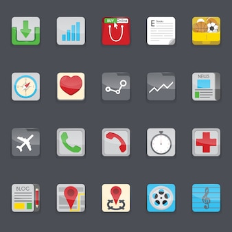 Telefone móvel coleção ícones do menu