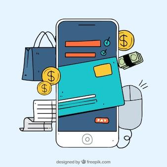 Telefone móvel desenhado à mão, pagamento on-line