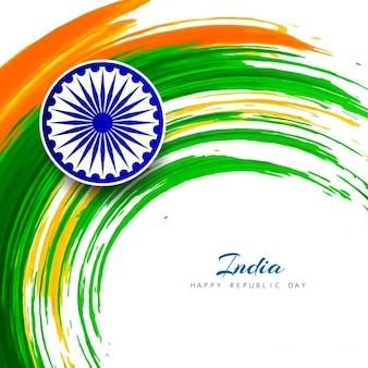 Tema da bandeira indiana fundo do redemoinho da aguarela