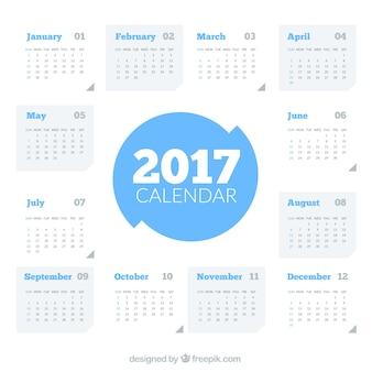 Template 2017 calendário moderno