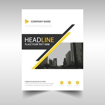 Template criativo amarelo capa do livro relatório anual
