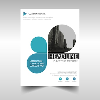 Template criativo azul capa do livro relatório anual